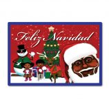 Feliz Navidad Table Mat -Red and Blue Melanin Moments Holiday Design with Spanish Text
