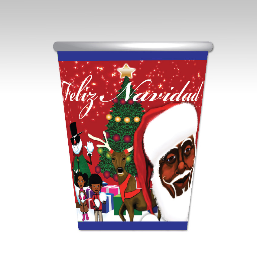 Feliz Navidad Cup -Red and Blue Melanin Moments Holiday Design with Spanish Text