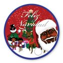 Feliz Navidad Dinner Plate -Red and Blue Melanin Moments Holiday Design with Spanish Text