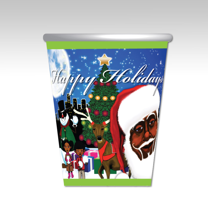 Drinking Cup -Blue and Green Melanin Moments Holiday Design with English Text