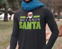 The Melanin Santa Long Sleeve Black Shirt