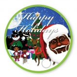 Dinner Plate -Blue and Green Melanin Moments Holiday Design with English Text